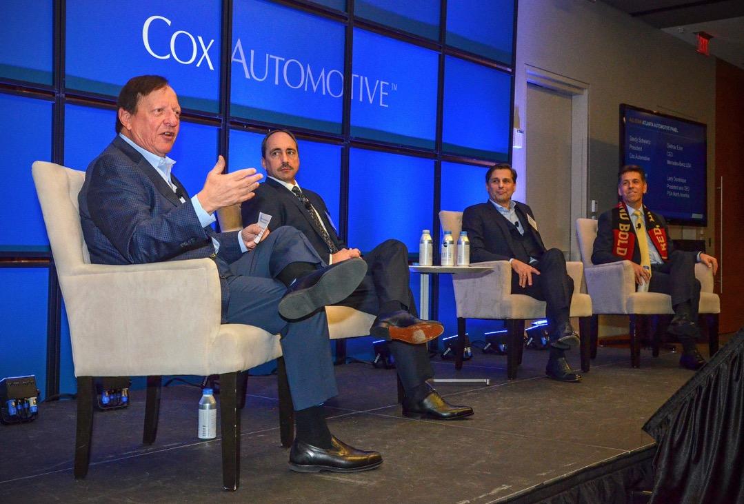 Cox Automotive President Sandy Schwartz (far left) hosted a panel at the Atlanta Economics Club